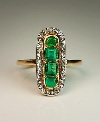 Victorian 0.80 Ct Rose Cut Diamond Emerald 925% Sterling Silver Engagement  Ring