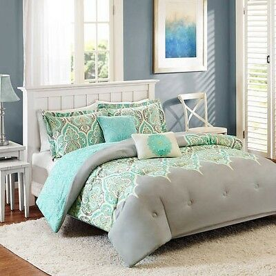 King Size 5 Piece Reversible Bedding Comforter Set Gray Teal Green Grey New