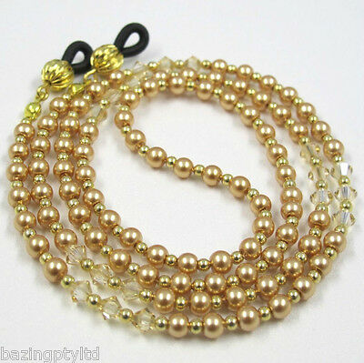 Gold Pearl Crystal Sunglasses Reading Glasses Specs Eyeglass Holder Chain Cord