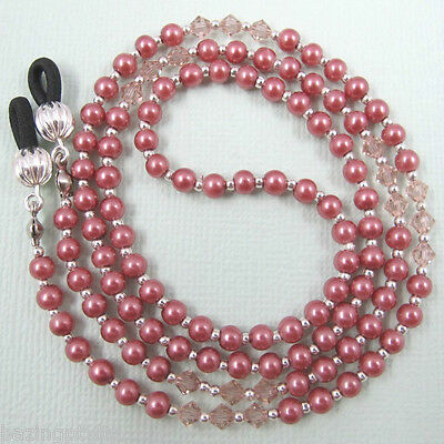 Coral Pearl Crystal Sunglasses Reading Glasses Specs Eyeglass Holder Chain Cord