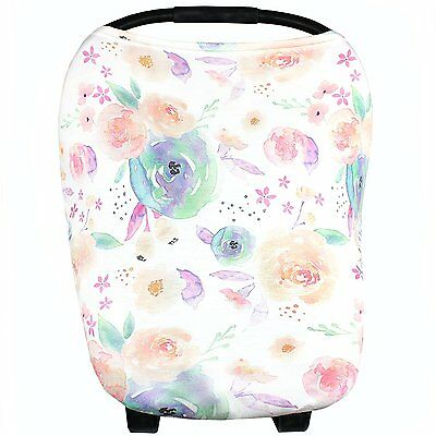Baby Car Seat Cover Canopy and Nursing Cover Multi-Use Stretchy 5 in 1 Gift by
