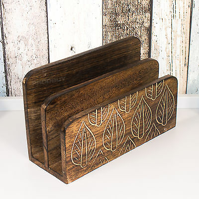 Rustic Leaves Letter Storage Rack Shabby Chic Tray Desk Organiser iPad Holder