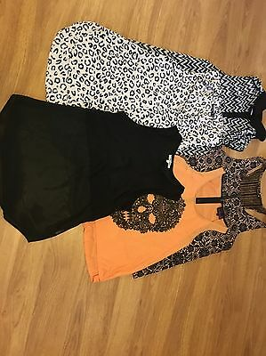 Lot Of 5 Blouses - Black Orange Pink Leopard Skull Lace - 12