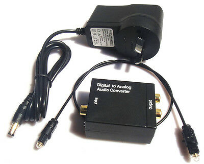 Digital Optical Coaxial Toslink SPDIF to Analog RCA L/R Audio Converter for HDTV