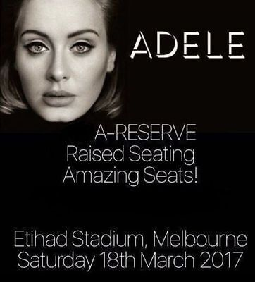 ADELE TICKETS Melbourne | A-RESERVE SEATS | Saturday March 18