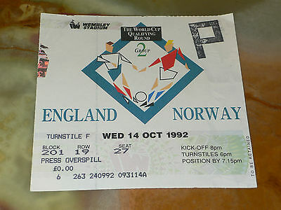 Ticket 1992 World Cup Qualifier - ENGLAND v. NORWAY (at Wembley Stadium)