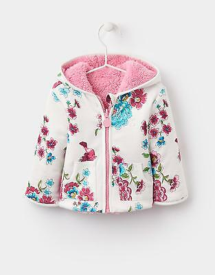 Joules 124126 Baby Girls Reversible Hooded Fleece Sweatshirt - Cream Blossom