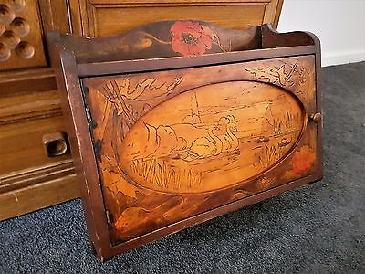 Western Australia Antique Pokerwork Hanging Folk Art Cabinet Swans Flowers Leaf