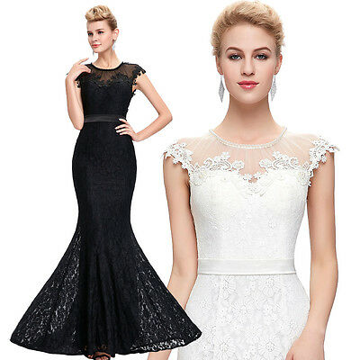Black Long Cocktail Formal Evening Party Dress Lace Bridesmaid Ball Gown Prom 14