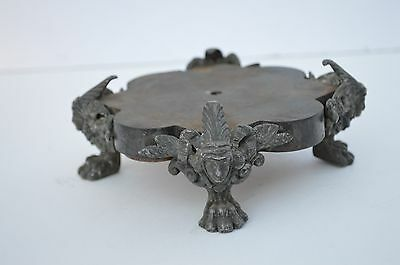 Beautiful Antique Metal/spelter  Base For Lamp/art/statue Lion Paw Feet, Figural