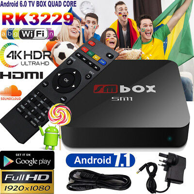 HOT Quad Core Android Smart TV Box Streaming Player HD Shows Sports UK