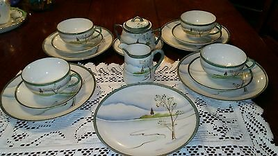 Antique Hand Painted Nippon Small Dish Set