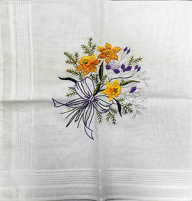 Daffodils & Violets - traced embroidery table cloth to complete