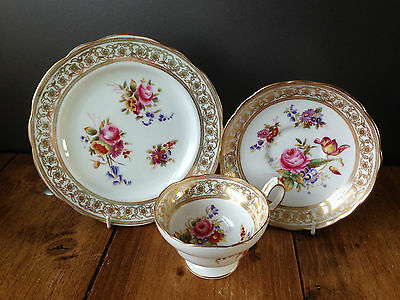 Antique Hammersley Dresden Sprays Floral Trio Cup Saucer & Side Plate - 11 Avail