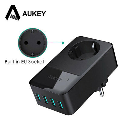 AUKEY Universal 4 Ports USB Wall Charger EU Fast Charge Portable Travel Charger