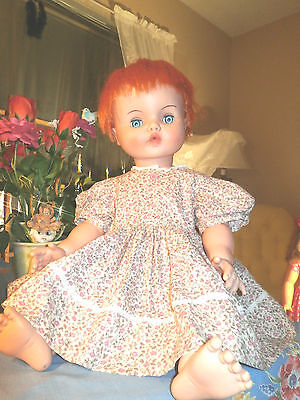 "Horsman Bright Orange Hair 23"" Vinyl & Plastic Sleep Eye Chuncky Girl Doll"