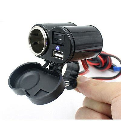 Waterproof Motorcycle 12V GPS Cigarette Lighter USB Power Socket Charger