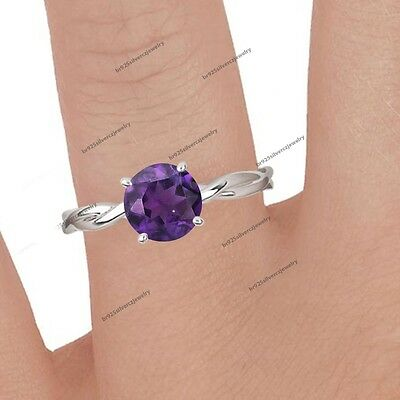 10k White Gold 1Ct Round Womens Amethyst Infinity Engagement Ring Wedding Bridal