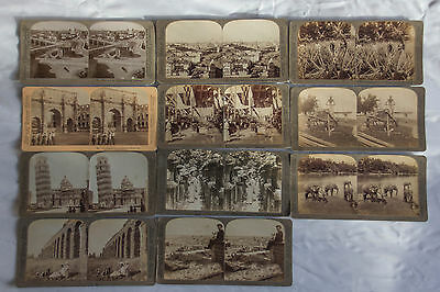 11 Antique Stereoscope Cards Underwood & Underwood - Early 1900s