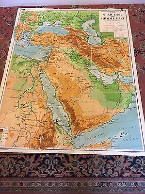 Original Phillips Vintage Old School Wall Map  Of The Near And Middle East 1956