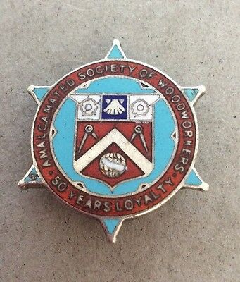 Vintage Trade Union Silver Badge Society Of Woodcutters 50 Years 1951