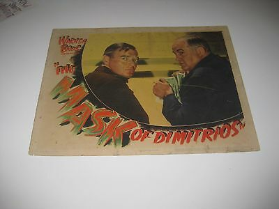 The Mask of Dimitrios (1944) Peter Lorre, Sydney Greenstreet Original Lobby Card