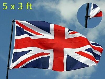 New Large 5 By 3 Foot British Cloth Fabric Union Jack 5' X 3' Flag With Eyelets