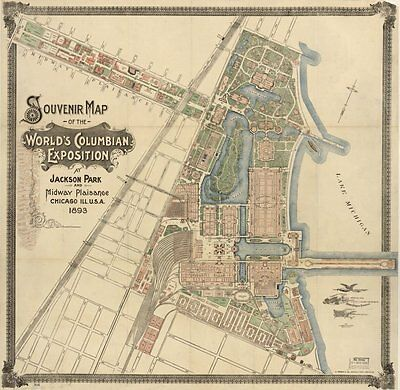 Vintage 1892 Map of Souvenir map of the Worlds Columbian Exposition at Jackson
