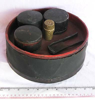 COMPLETE OLD 4 Piece Lacquerware Betelnut Betel Nut Set & Free Cutter & Lime Box