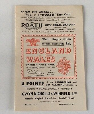 ENGLAND V WALES JANUARY 17th.1953 OFFICIAL PROGRAMME EXCELLENT CONDITION.