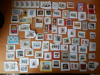 Joblot Of 75 Used Stamps On Paper From Isle Of Man.