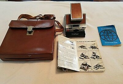 Vintage 1973 Polaroid SX-70 Land camera w/Leather Case and Manuals P983A