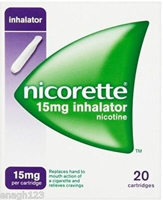 Nicorette 15mg inhalator. With white inhalator mouthpiece and 20 Cartridges.