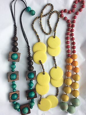 Job Lot Costume Jewellery 3 Large & Long Bead Necklaces.   432c