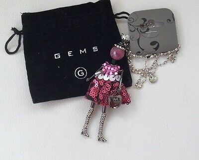 New Pink Lady Necklace In Gift Bag. Unwanted Gift. Ideal For Girl