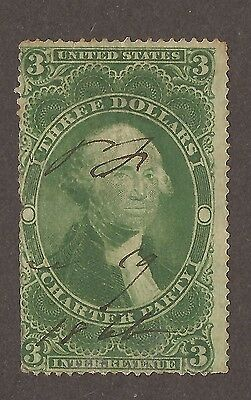 1862 - 1871 United States Revenue Stamp Charter Party $3 Green