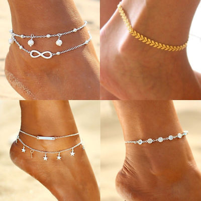 Women Boho Silver BeadsTassel Chain Ankle Anklet Barefoot Sandals Foot Jewelry