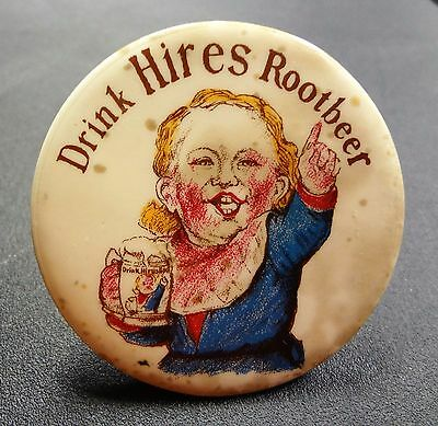 Vintage Drink Hires Root Beer Soda Advertising Pinback Button