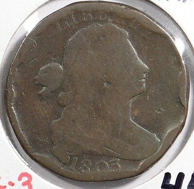 1803 1C S-255 Sm Date Sm Frac BN Draped Bust Cent About Good Condition #147631