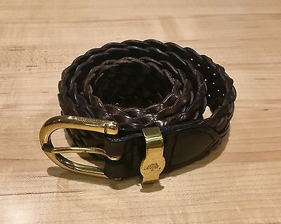 Genuine Mulberry Women's Brown Braided Leather Belt 28/70