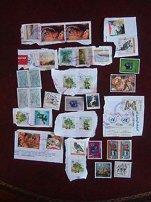 Rare Palestine / Palestinian Authority Modern Kiloware Lot Of 36 Stamps On Paper