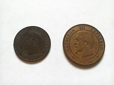 1854 France French 5 & 10 Centimes Coin Napoleon III