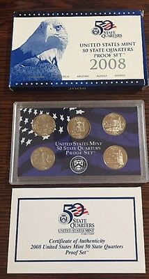 2008 United States Mint 50 State Quarters Proof Set (5 coins)  box & coa