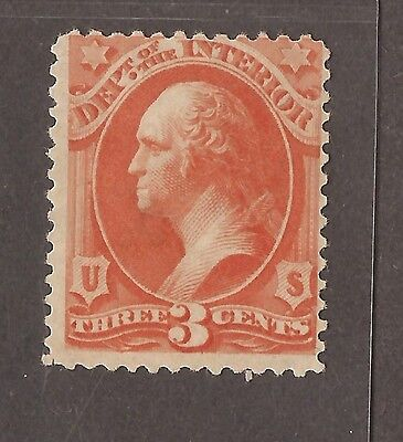 1873 Interior Official Stamp Washington 3 Cent Stamp Unused Some O/g
