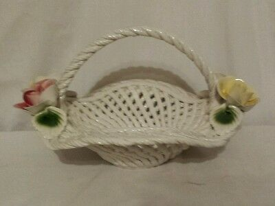 Vintage Capodimonte Ceramic Rope Basket Beautiful Centerpiece with Roses