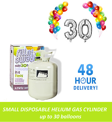 Disposable Helium Gas Balloon Cylinder Fills 30 Balloons Party Birthday