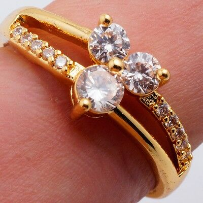 Wholesale Party Women 24K Gold Filled Ring Clear Cubic Zircon Size 8