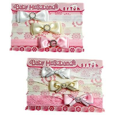 Infant Toddler Lace Bow Diamante Headbands In 2 Designs