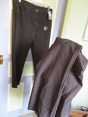 Bundle Of 2 Pairs Of Ladies Trousers/jeans, Peacocks/m&s, Size 16S, Bnwt