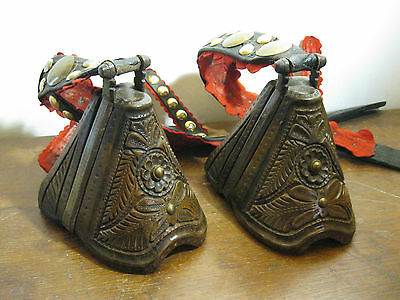 1799 Old antique 18th c. carved horse wood stirrups iron / south america /
